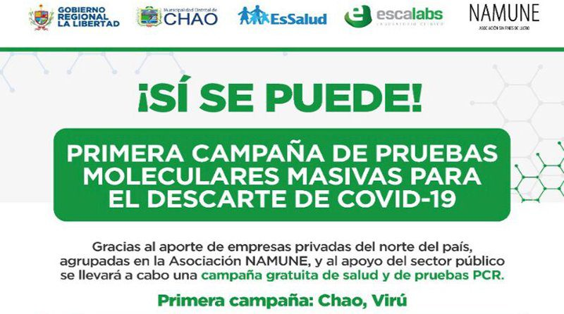 Primera campaña masiva y gratuita de pruebas moleculares: Chao y Virú